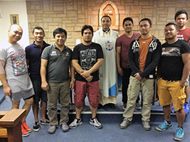 Fr Herman AoS Durban with some of the crew of Seroja Lima at Mass