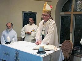 Cape Town Archbishop Stephen Brislin celebrates Mass at the AoS seafarers centre