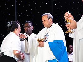Bishop Joseph Kalathiparambil celebrates Mass for the crew on board mv Britannia