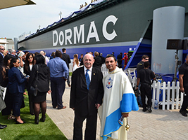 Fr Herman Giraldo and Terry Whitfield at the launching ceremony