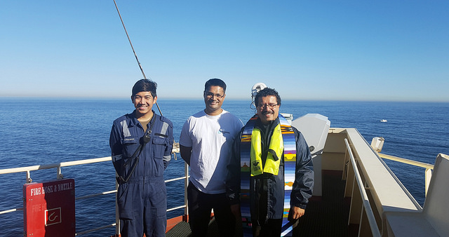 AoS Cape Town port chaplain Fr Gerardo Garcia on board a ship with seafarers